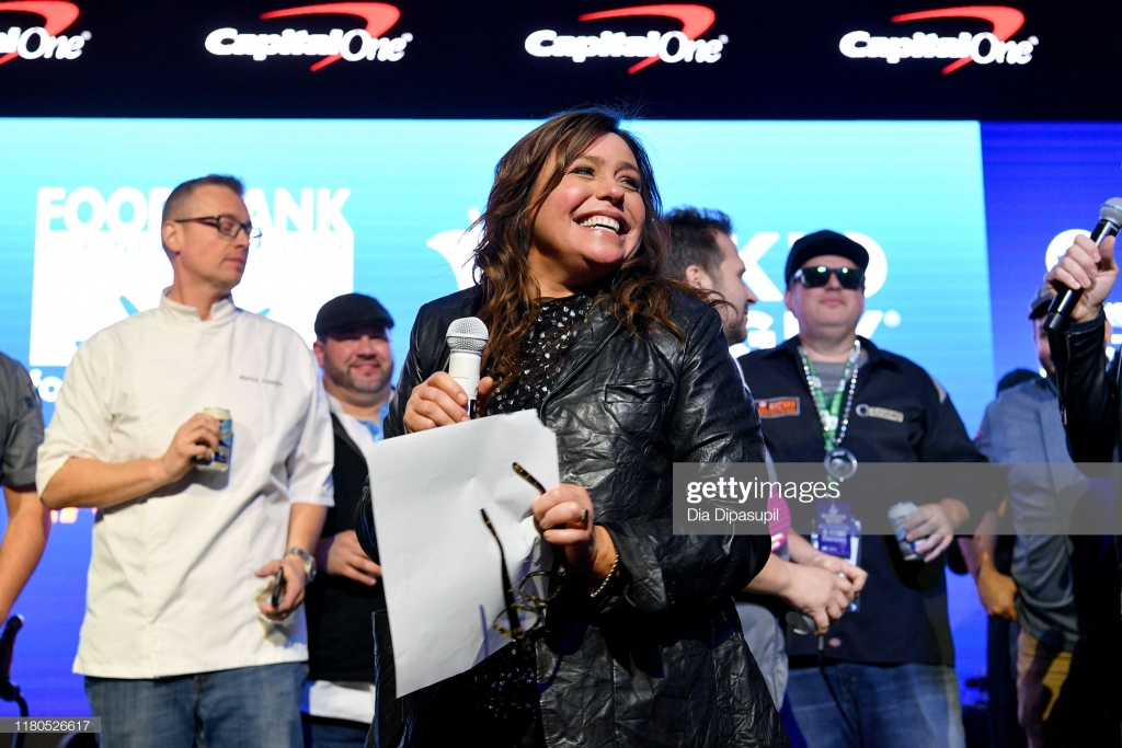 NEW YORK, NEW YORK - OCTOBER 11: Rachael Ray speaks onstage during the Blue Moon Burger Bash presented by Pat LaFrieda Meats hosted by Rachael Ray at Pier 97 on October 11, 2019 in New York City. (Photo by Dia Dipasupil/Getty Images for NYCWFF)